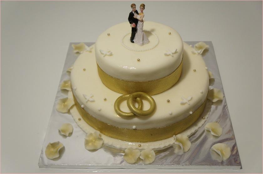 Hochzeitstorte weiß-gold (Braut und Bräutigam, Ringe, Perlen) - 1
