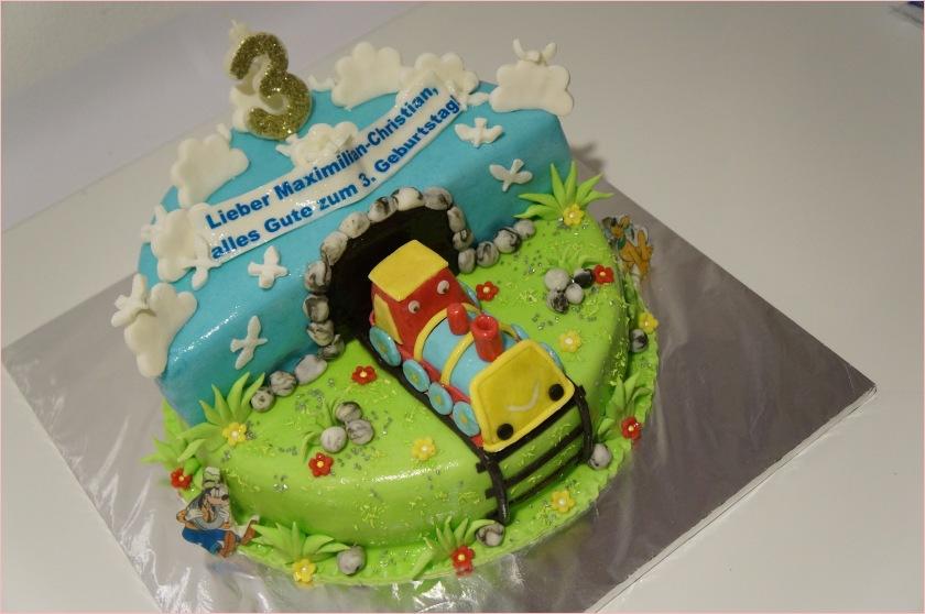 Torte mit Eisenbahn und Tunnel (Zug zum 3. Geburtstag) - Torten ...