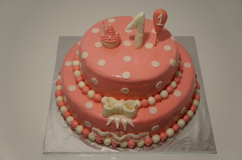 Torte zum 1. Geburtstag in rosa (1. Geburtstagstorte) - Torten ...