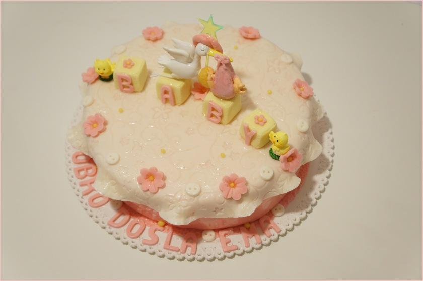 Baby Torte in rosa-weiß mit Storch und Würfel - Torten - diangel.com ...