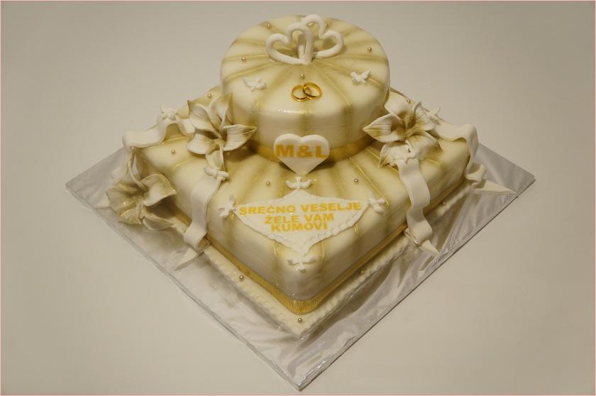 Hochzeitstorte in weiß-gold (+ Ringe) - Torten - diangel.com - Torten ...