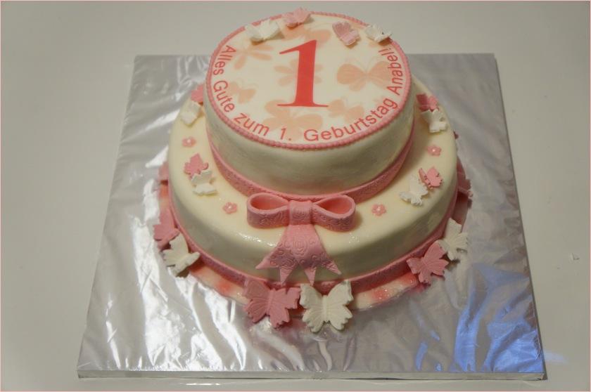 Torte zum 1. Geburtstag mit Schmetterlinge und Masche, Baby, Babytorte ...